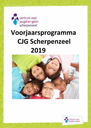 Voorkant van de folder van het Voorjaarsprogramma CJG Scherpenzeel 2019