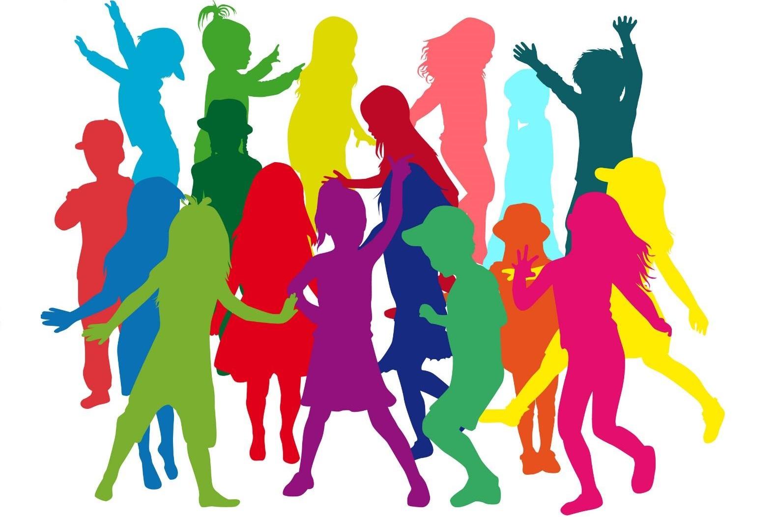 Foto: Vormen van mensen in allerlei kleuren. Veelzijdige groep mensen.