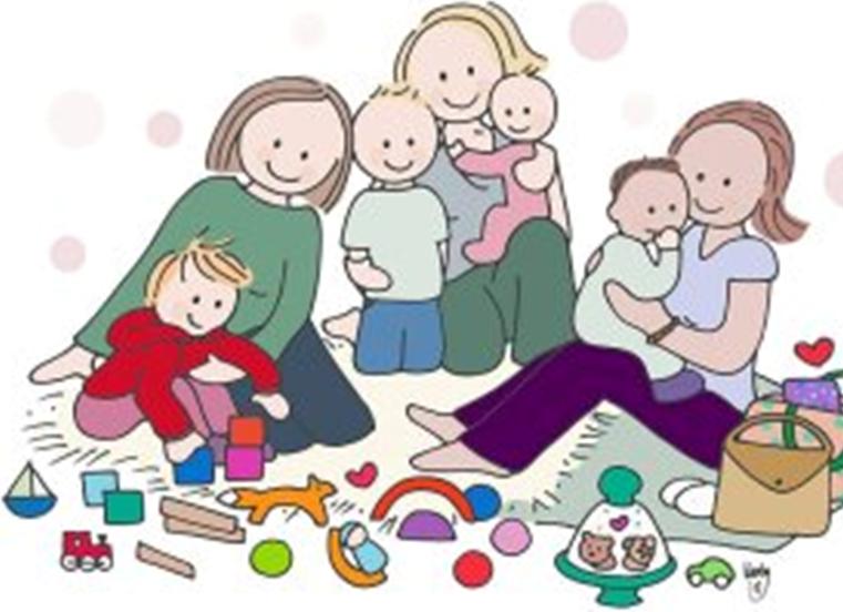 Ouders en spelende kinderen