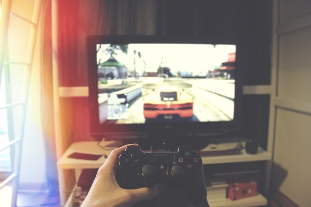 Foto van een computerbeeldscherm met een computerspel.