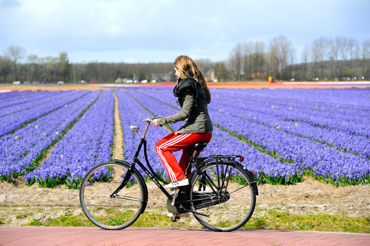 Tienermeisje fietst over een plattelandsweg met op de achtergrond paarse bloemenvelden