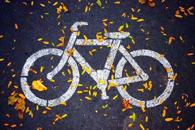 Foto van een fiets-icoon als belijning op de weg, om aan te geven dat er een fietsstrook is